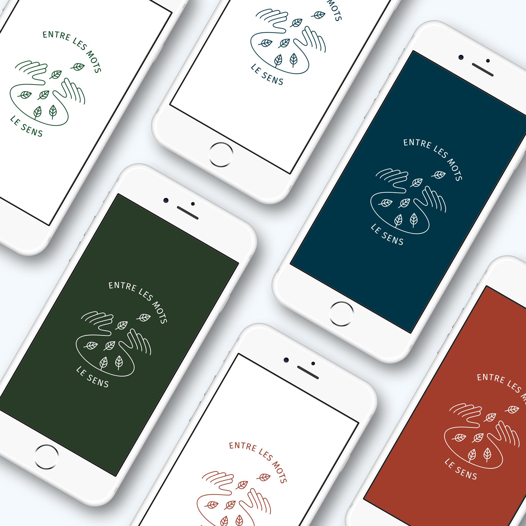 intégration du logo 'Entre les mots, sur écran iPhone